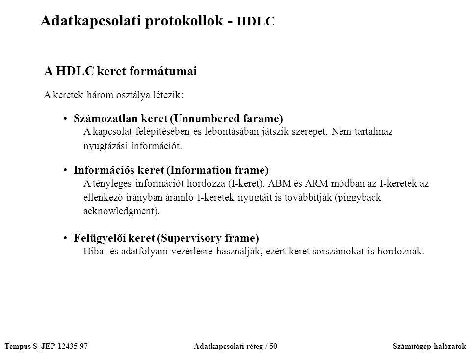 Tempus S_JEP-12435-97Adatkapcsolati réteg / 50Számítógép-hálózatok A HDLC keret formátumai A keretek három osztálya létezik: Számozatlan keret (Unnumb