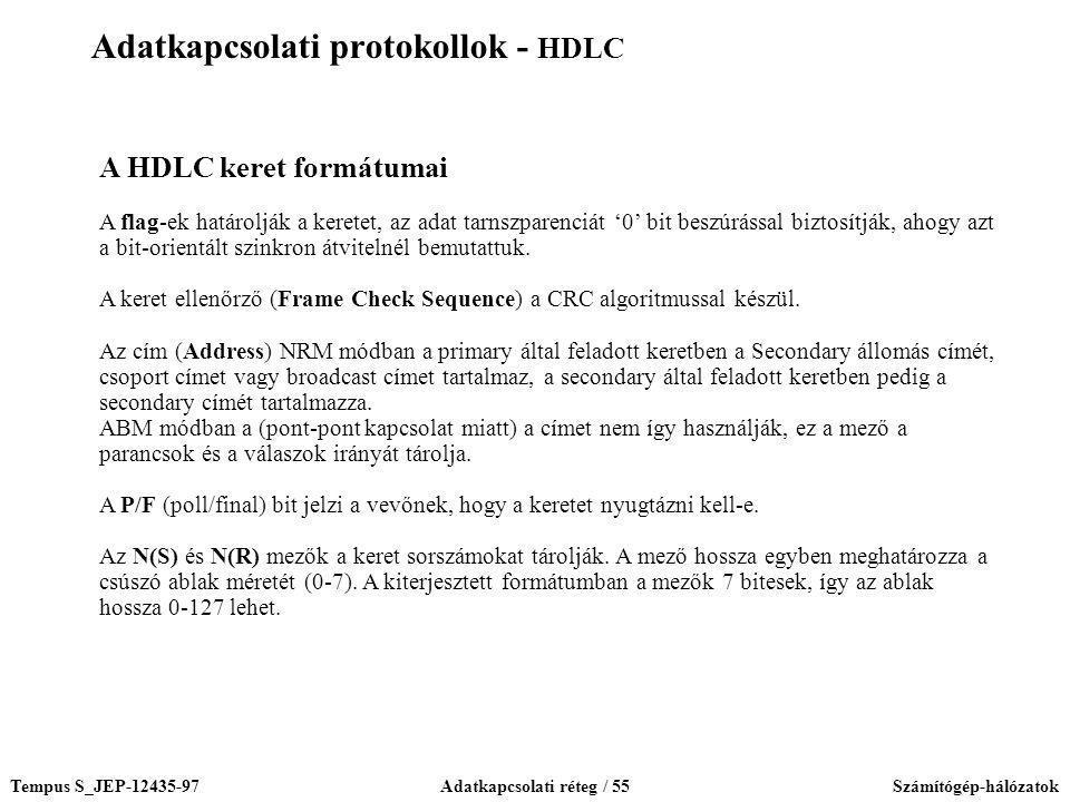 Tempus S_JEP-12435-97Adatkapcsolati réteg / 55Számítógép-hálózatok A HDLC keret formátumai A flag-ek határolják a keretet, az adat tarnszparenciát '0'