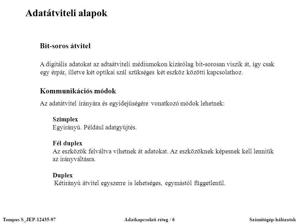 Tempus S_JEP-12435-97Adatkapcsolati réteg / 6Számítógép-hálózatok Bit-soros átvitel A digitális adatokat az adtaátviteli médiumokon kizárólag bit-soro