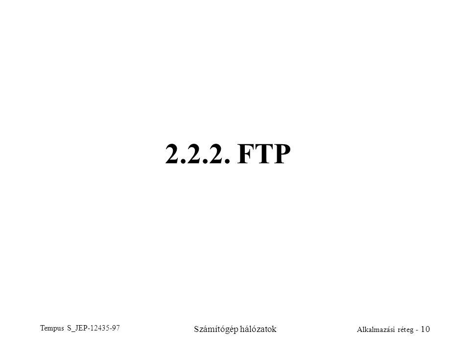 Tempus S_JEP-12435-97 Számítógép hálózatok Alkalmazási réteg - 10 2.2.2. FTP