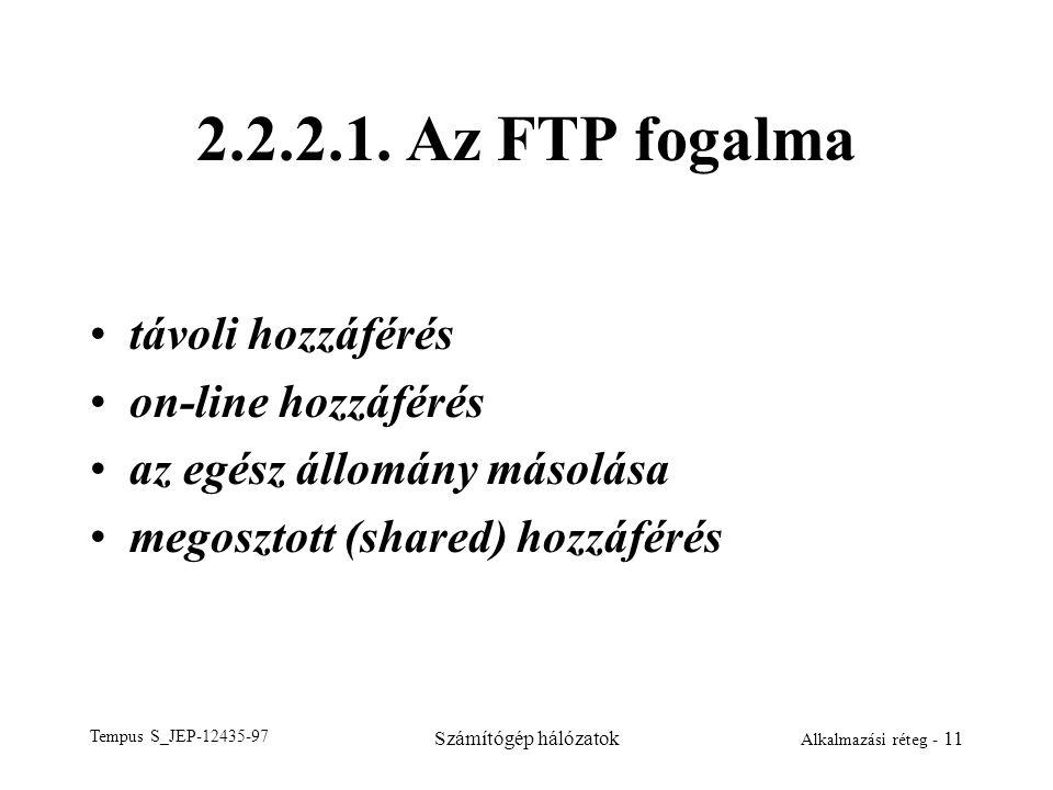 Tempus S_JEP-12435-97 Számítógép hálózatok Alkalmazási réteg - 11 2.2.2.1. Az FTP fogalma távoli hozzáférés on-line hozzáférés az egész állomány másol