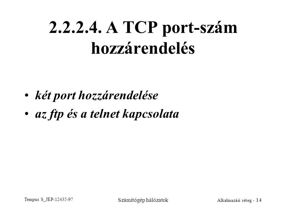 Tempus S_JEP-12435-97 Számítógép hálózatok Alkalmazási réteg - 14 2.2.2.4. A TCP port-szám hozzárendelés két port hozzárendelése az ftp és a telnet ka