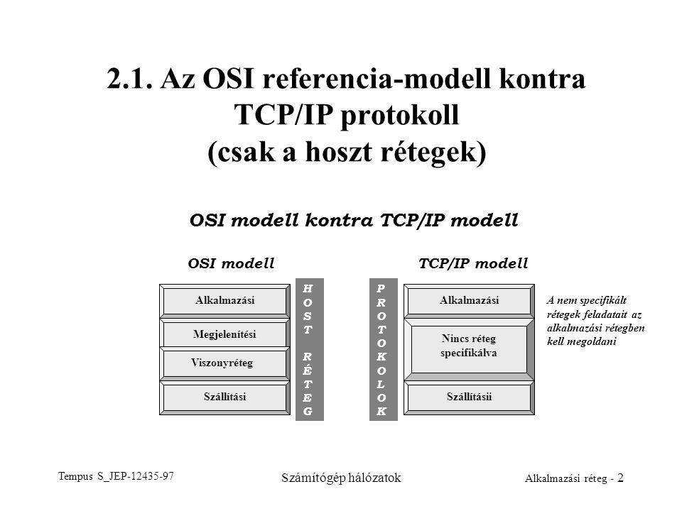 Tempus S_JEP-12435-97 Számítógép hálózatok Alkalmazási réteg - 2 2.1. Az OSI referencia-modell kontra TCP/IP protokoll (csak a hoszt rétegek) OSI mode