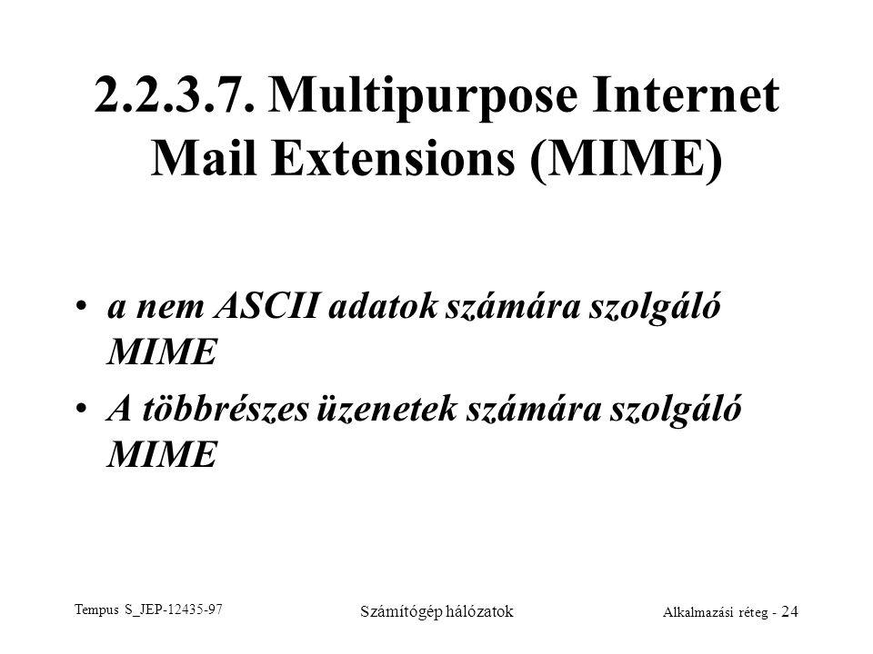 Tempus S_JEP-12435-97 Számítógép hálózatok Alkalmazási réteg - 24 2.2.3.7. Multipurpose Internet Mail Extensions (MIME) a nem ASCII adatok számára szo