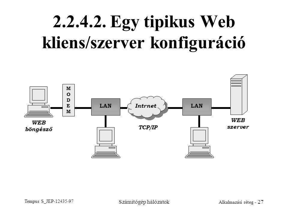 Tempus S_JEP-12435-97 Számítógép hálózatok Alkalmazási réteg - 27 2.2.4.2. Egy tipikus Web kliens/szerver konfiguráció MODEMMODEM LAN Intrnet WEB böng
