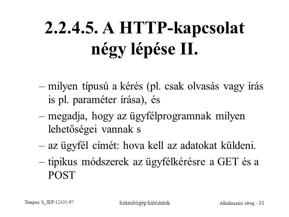 Tempus S_JEP-12435-97 Számítógép hálózatok Alkalmazási réteg - 31 2.2.4.5. A HTTP-kapcsolat négy lépése II. –milyen típusú a kérés (pl. csak olvasás v