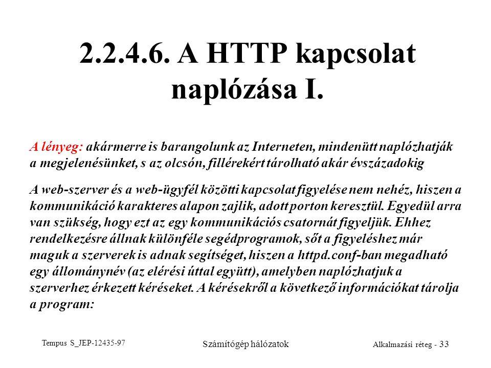Tempus S_JEP-12435-97 Számítógép hálózatok Alkalmazási réteg - 33 2.2.4.6. A HTTP kapcsolat naplózása I. A lényeg: akármerre is barangolunk az Interne