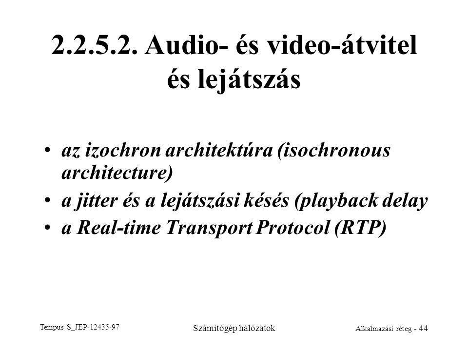 Tempus S_JEP-12435-97 Számítógép hálózatok Alkalmazási réteg - 44 2.2.5.2. Audio- és video-átvitel és lejátszás az izochron architektúra (isochronous