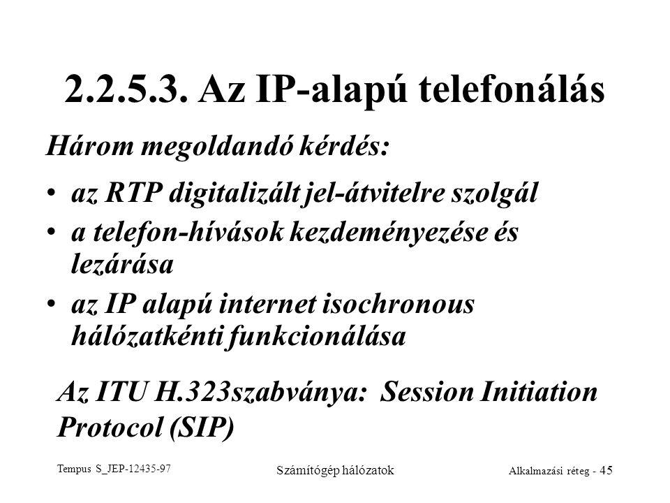 Tempus S_JEP-12435-97 Számítógép hálózatok Alkalmazási réteg - 45 2.2.5.3. Az IP-alapú telefonálás az RTP digitalizált jel-átvitelre szolgál a telefon