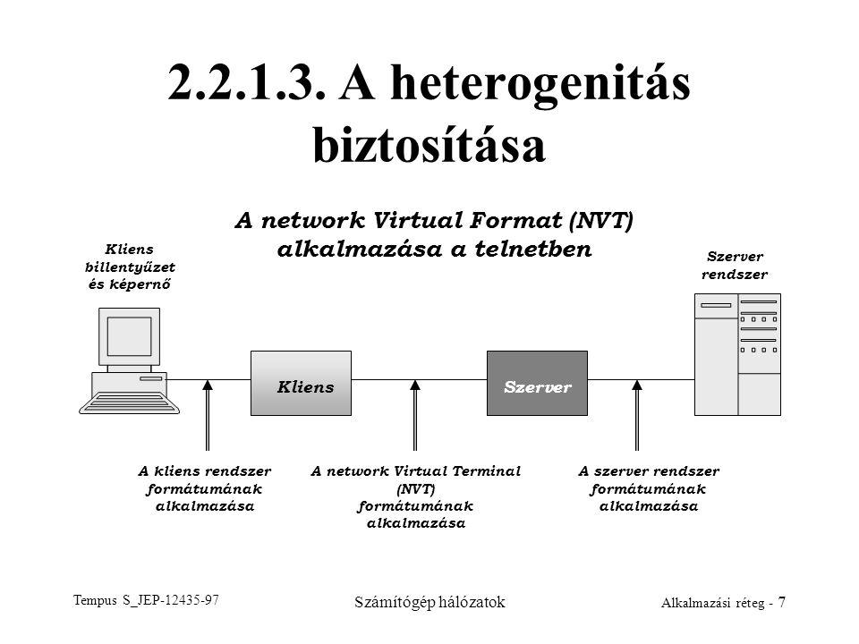 Tempus S_JEP-12435-97 Számítógép hálózatok Alkalmazási réteg - 7 2.2.1.3. A heterogenitás biztosítása KliensSzerver A network Virtual Format (NVT) alk