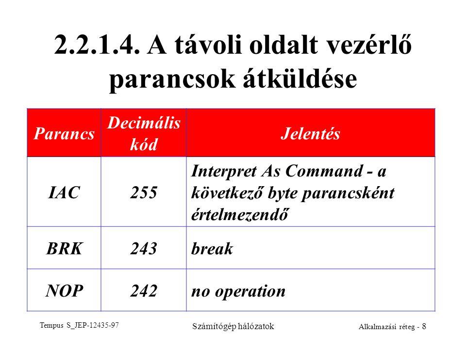 Tempus S_JEP-12435-97 Számítógép hálózatok Alkalmazási réteg - 8 2.2.1.4. A távoli oldalt vezérlő parancsok átküldése Parancs Decimális kód Jelentés I