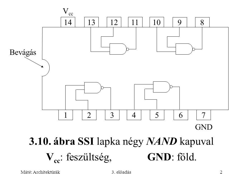 Máté: Architektúrák3. előadás2 3.10. ábra SSI lapka négy NAND kapuval V cc : feszültség, GND: föld. 1413121110 98 1234567 V cc GND Bevágás