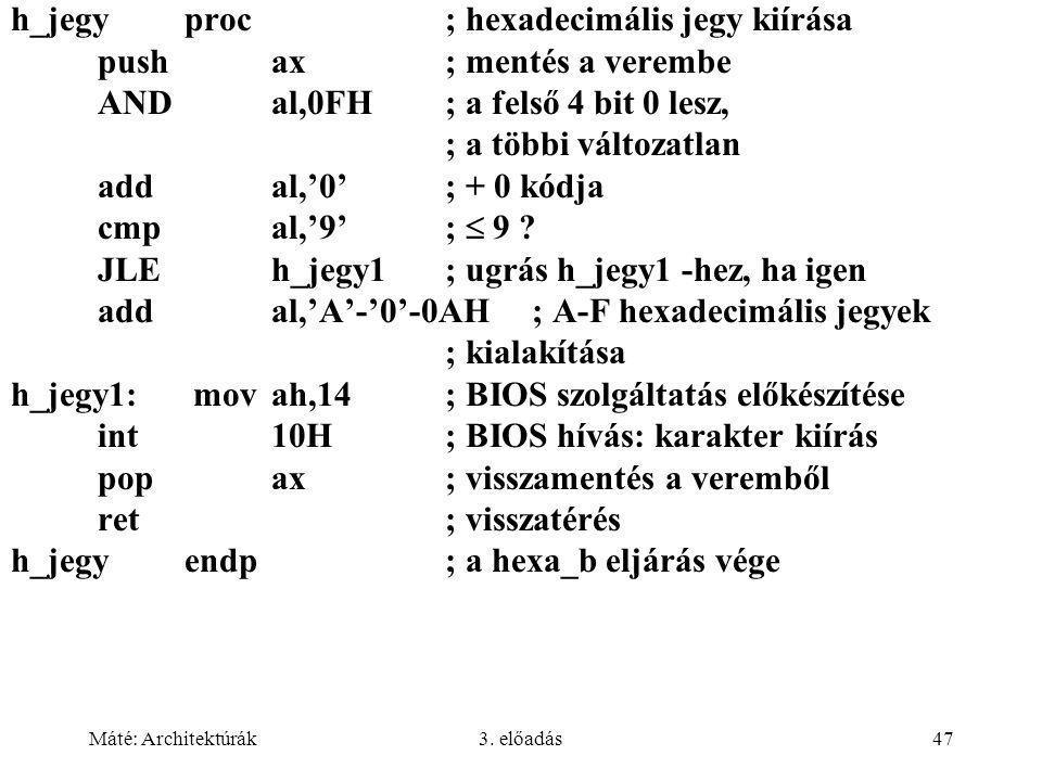 Máté: Architektúrák3. előadás47 h_jegyproc; hexadecimális jegy kiírása pushax; mentés a verembe ANDal,0FH; a felső 4 bit 0 lesz, ; a többi változatlan