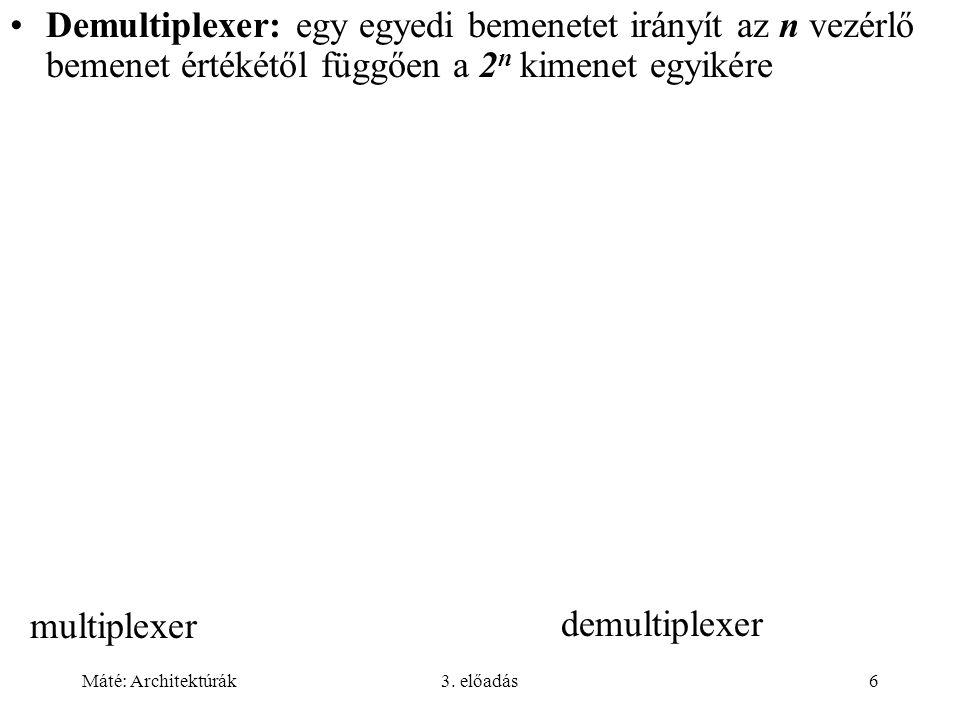 Máté: Architektúrák3. előadás6 multiplexer demultiplexer Demultiplexer: egy egyedi bemenetet irányít az n vezérlő bemenet értékétől függően a 2 n kime