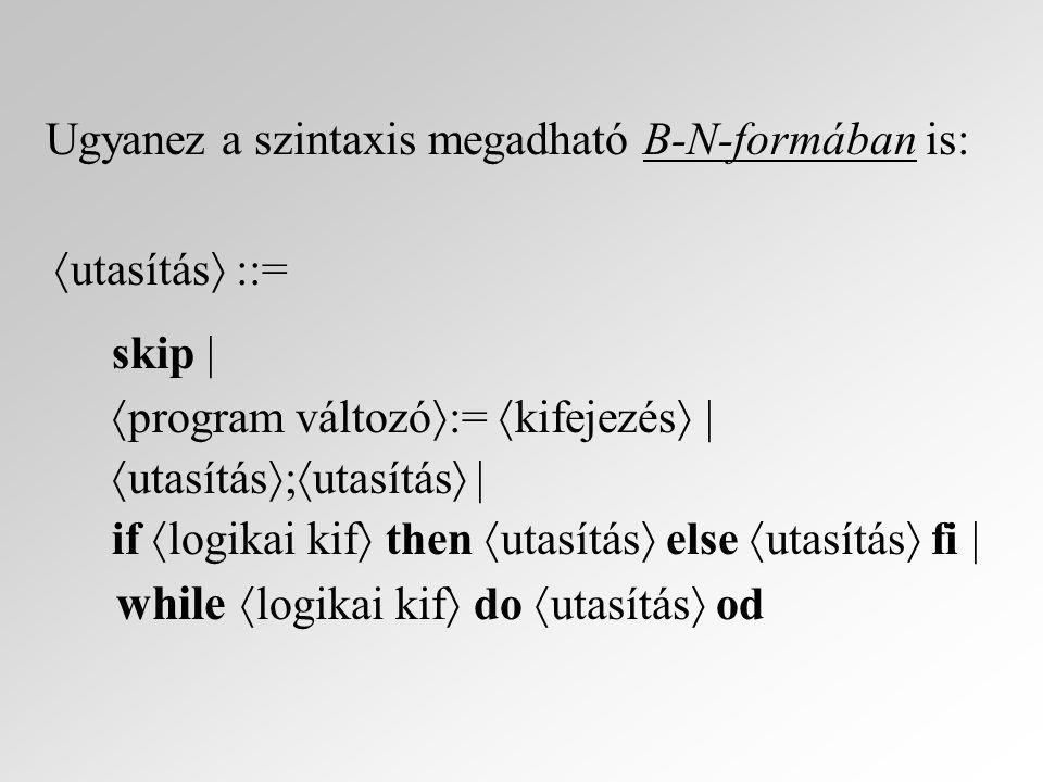 Operációs szemantika: X : Valt  Pvalt változók d : D adatok s : S = Valt  D állapotok (változótartalmak)  :  = (S  Uts)  S konfigurációk op : Uts  P(  ) operációs átmeneti reláció