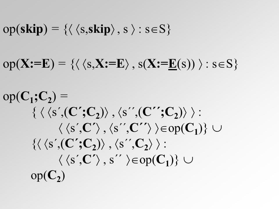 op(B  C 1  C 2 ) = {  s, (B  C 1  C 2 ) ,  s, C 1  : s  B }  {  s, (B  C 1  C 2 ) ,  s, C 2  : s  ¬B }  op( C 1 )  op( C 2 ) op(B  C) = {  s, (B  C) ,  s,( C;(B  C))  : s  B }  {  s, (B  C) ,s  : s  ¬B }  {  s´,( C ´; (B  C)) ,  s´´,( C ´´ ;(B  C))  :  s´, C ´ ,  s´´, C ´´  op( C ) }  {  s´,( C ´; (B  C)) ,  s´´, (B  C)  :  s´, C ´ ,s´´  op( C ) }