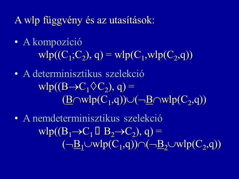 A wlp függvény és az utasítások: A skip utasítás wlp(skip,q) = q A skip utasítás wlp(skip,q) = q A determinisztikus értékadás wlp(X:=E,q) = {s: s(X:=E