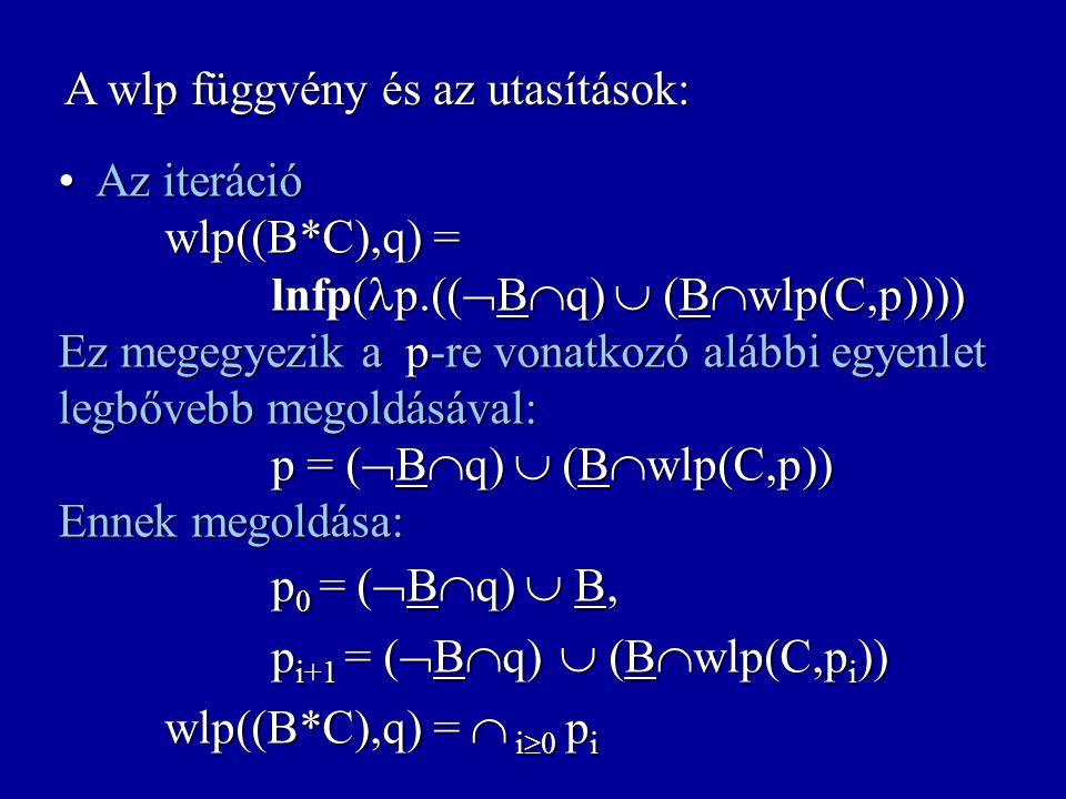 A wlp függvény és az utasítások: A kompozíció wlp((C 1 ;C 2 ), q) = wlp(C 1,wlp(C 2,q)) A kompozíció wlp((C 1 ;C 2 ), q) = wlp(C 1,wlp(C 2,q)) A deter