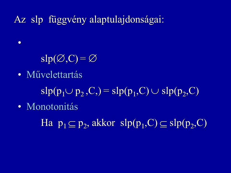 slp: Felt  Uts  Felt strongest liberal postcondition slp(p,C) = { s :  s'  p.  s',s  C } {p}C{q} = ((p  S)  C)  (S  q) A definícióból követ