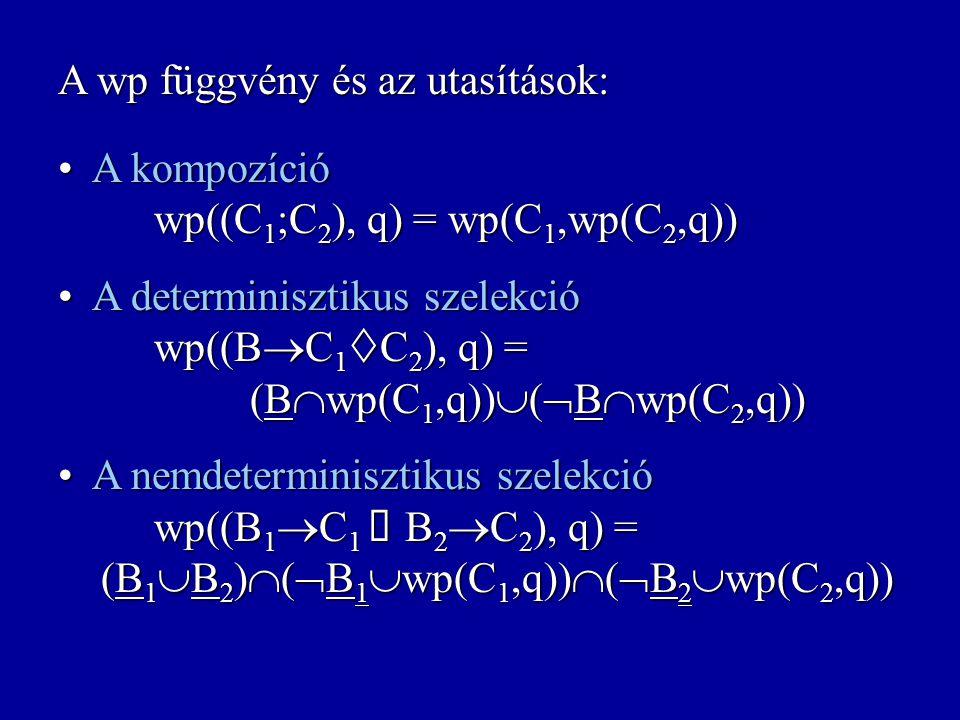 A wp függvény és az utasítások: A skip utasítás wp(skip,q) = q A skip utasítás wp(skip,q) = q A determinisztikus értékadás wp(X:=E,q) = {s: s(X:=E(s))