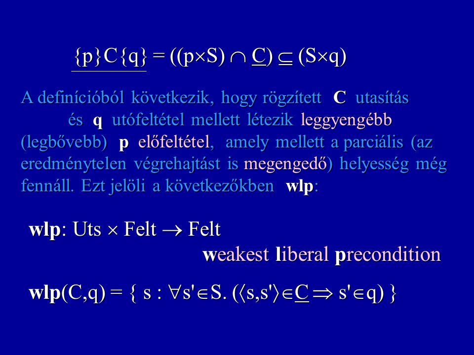 A wp függvény és az utasítások: Az iteráció Feltételezés: (B*C) nemdeterminizmusa véges. wp((B*C),q) = lkfp( p.((  B  q)  (B  wp(C,p)))) Az iterác
