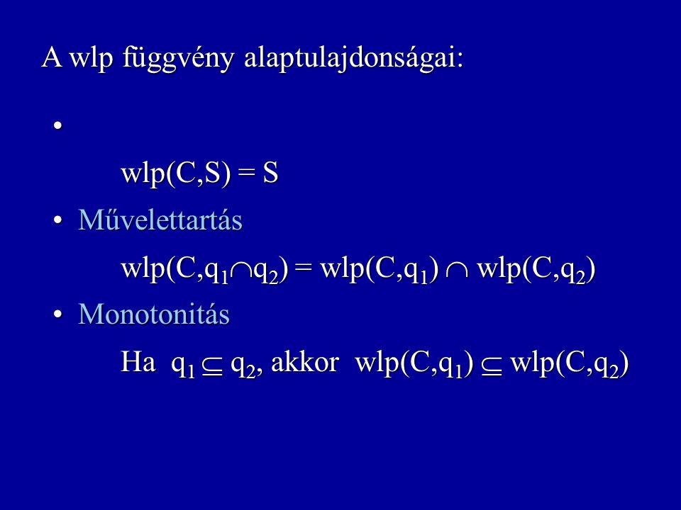 wlp: Uts  Felt  Felt weakest liberal precondition wlp(C,q) = { s :  s'  S. (  s,s'  C  s'  q) } {p}C{q} = ((p  S)  C)  (S  q) A definíció
