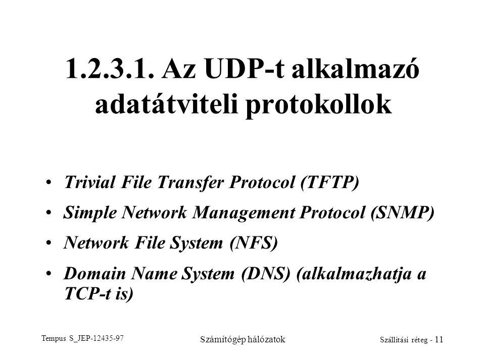 Tempus S_JEP-12435-97 Számítógép hálózatok Szállítási réteg - 11 1.2.3.1. Az UDP-t alkalmazó adatátviteli protokollok Trivial File Transfer Protocol (