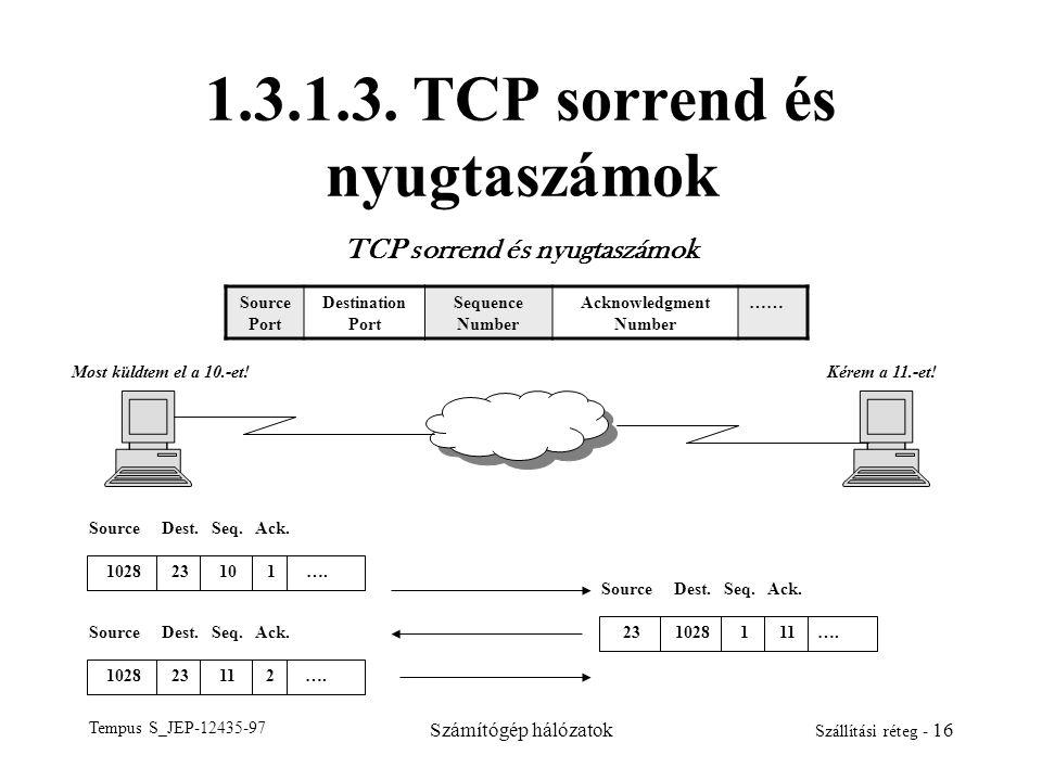 Tempus S_JEP-12435-97 Számítógép hálózatok Szállítási réteg - 16 1.3.1.3. TCP sorrend és nyugtaszámok TCP sorrend és nyugtaszámok Source Port Destinat