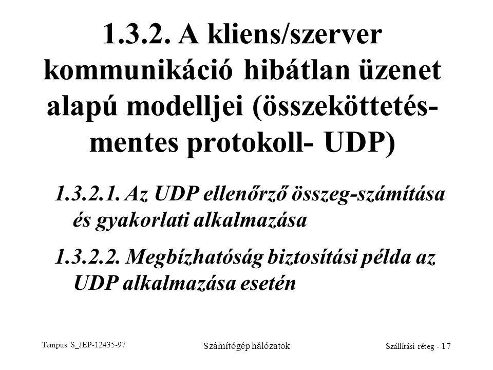 Tempus S_JEP-12435-97 Számítógép hálózatok Szállítási réteg - 17 1.3.2. A kliens/szerver kommunikáció hibátlan üzenet alapú modelljei (összeköttetés-