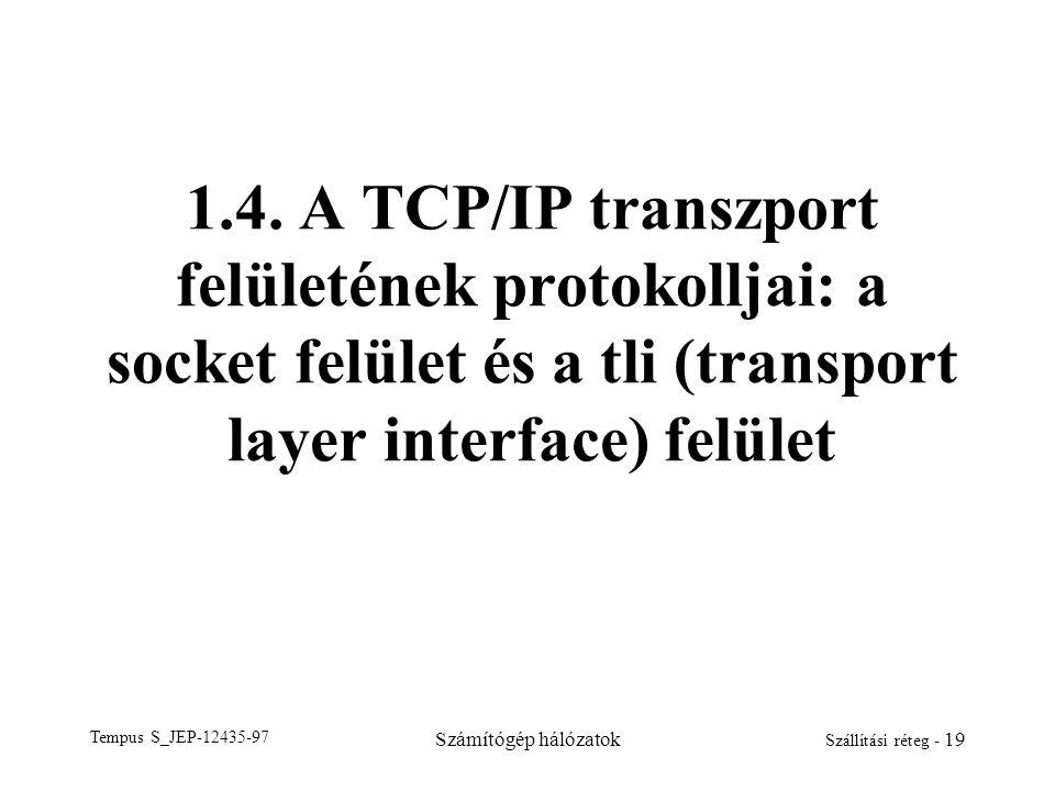 Tempus S_JEP-12435-97 Számítógép hálózatok Szállítási réteg - 19 1.4. A TCP/IP transzport felületének protokolljai: a socket felület és a tli (transpo