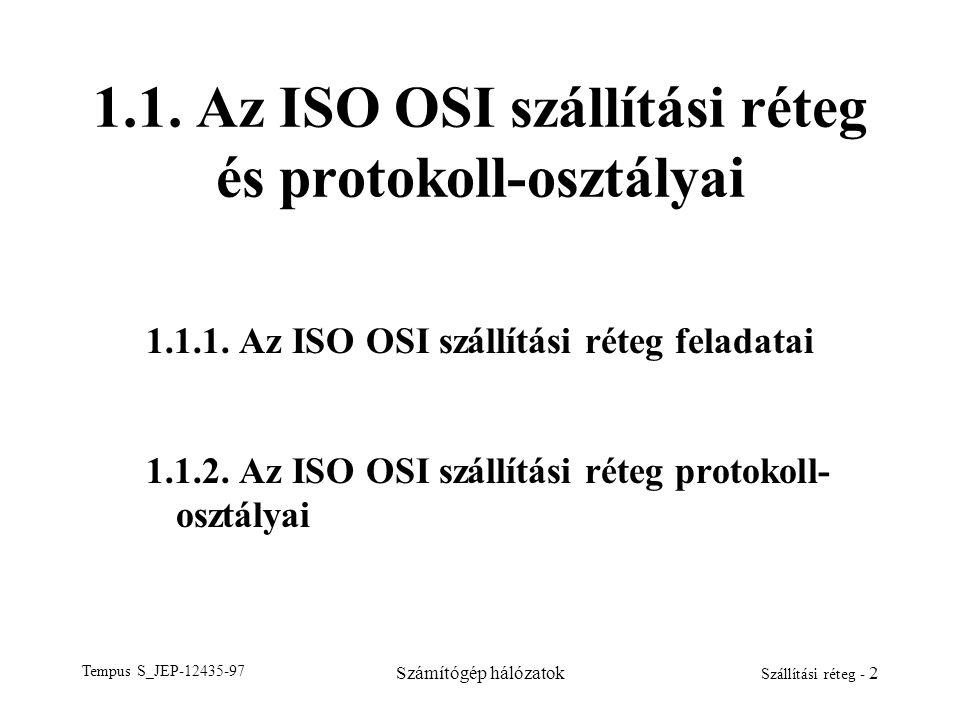 Tempus S_JEP-12435-97 Számítógép hálózatok Szállítási réteg - 2 1.1. Az ISO OSI szállítási réteg és protokoll-osztályai 1.1.1. Az ISO OSI szállítási r