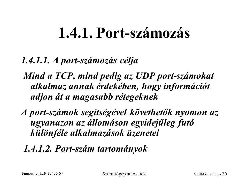 Tempus S_JEP-12435-97 Számítógép hálózatok Szállítási réteg - 20 1.4.1. Port-számozás 1.4.1.1. A port-számozás célja Mind a TCP, mind pedig az UDP por