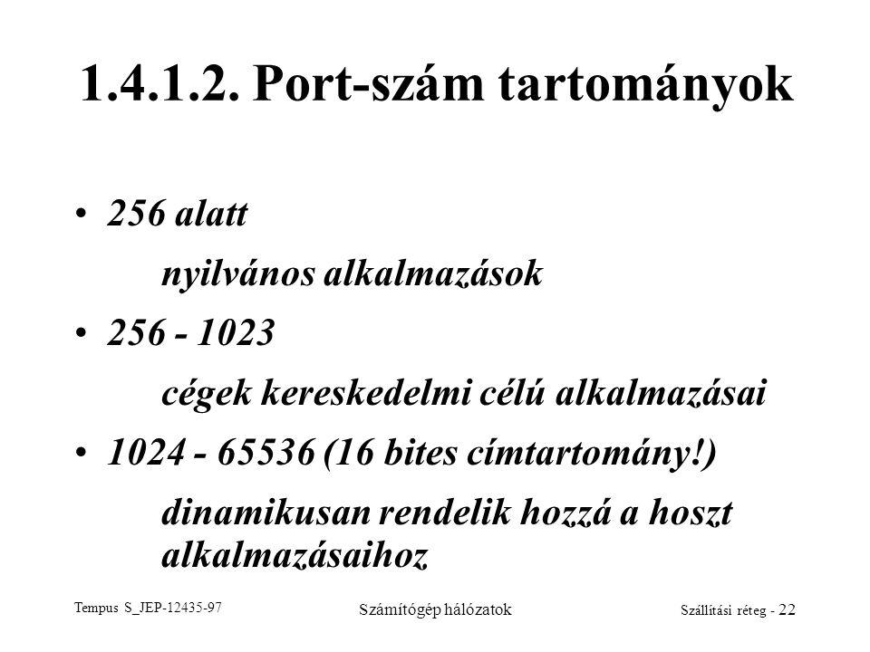 Tempus S_JEP-12435-97 Számítógép hálózatok Szállítási réteg - 22 1.4.1.2. Port-szám tartományok 256 alatt nyilvános alkalmazások 256 - 1023 cégek kere