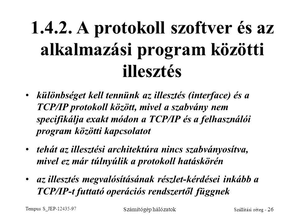 Tempus S_JEP-12435-97 Számítógép hálózatok Szállítási réteg - 26 1.4.2. A protokoll szoftver és az alkalmazási program közötti illesztés különbséget k