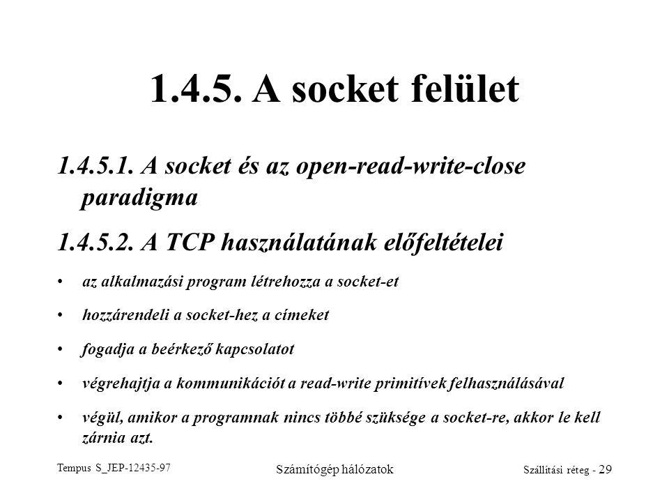 Tempus S_JEP-12435-97 Számítógép hálózatok Szállítási réteg - 29 1.4.5. A socket felület 1.4.5.1. A socket és az open-read-write-close paradigma 1.4.5