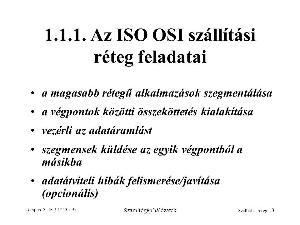 Tempus S_JEP-12435-97 Számítógép hálózatok Szállítási réteg - 3 1.1.1. Az ISO OSI szállítási réteg feladatai a magasabb rétegű alkalmazások szegmentál