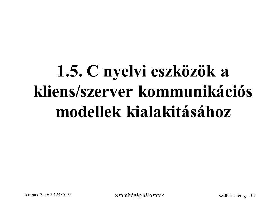 Tempus S_JEP-12435-97 Számítógép hálózatok Szállítási réteg - 30 1.5. C nyelvi eszközök a kliens/szerver kommunikációs modellek kialakitásához
