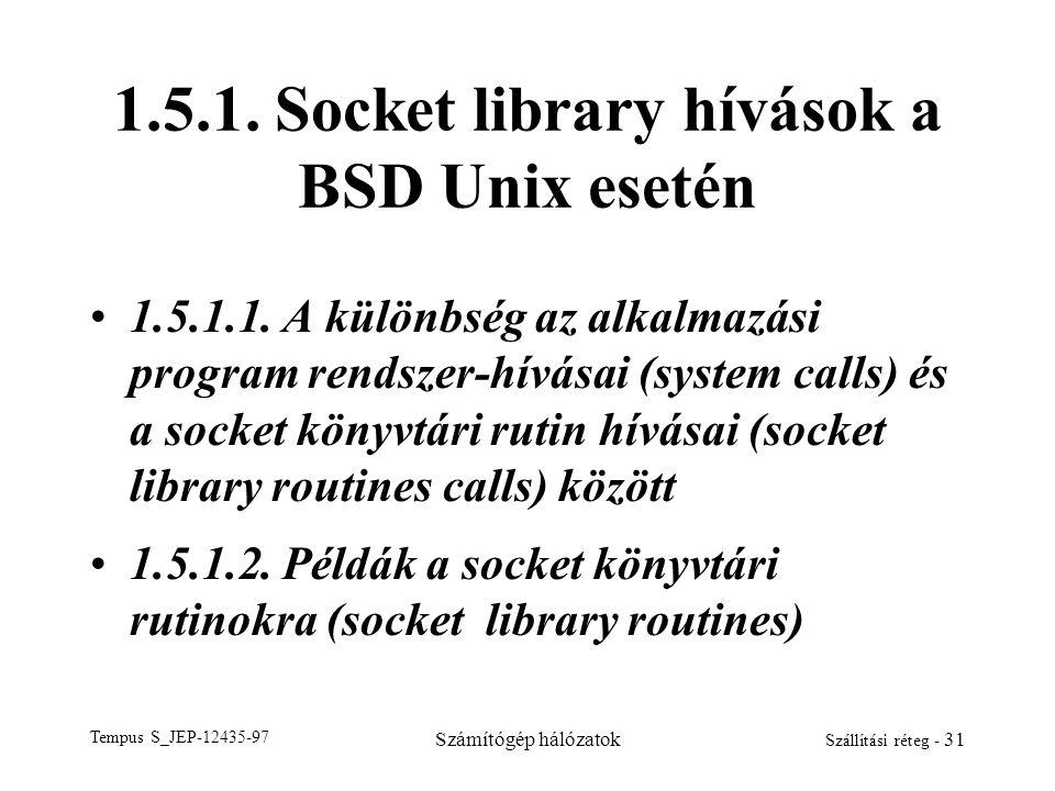 Tempus S_JEP-12435-97 Számítógép hálózatok Szállítási réteg - 31 1.5.1. Socket library hívások a BSD Unix esetén 1.5.1.1. A különbség az alkalmazási p