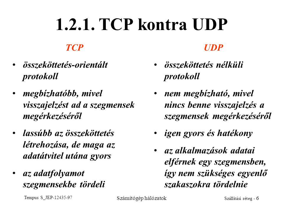 Tempus S_JEP-12435-97 Számítógép hálózatok Szállítási réteg - 6 1.2.1. TCP kontra UDP TCP összeköttetés-orientált protokoll megbízhatóbb, mivel vissza