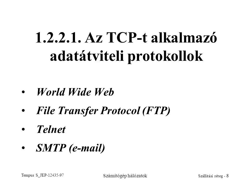 Tempus S_JEP-12435-97 Számítógép hálózatok Szállítási réteg - 8 1.2.2.1. Az TCP-t alkalmazó adatátviteli protokollok World Wide Web File Transfer Prot