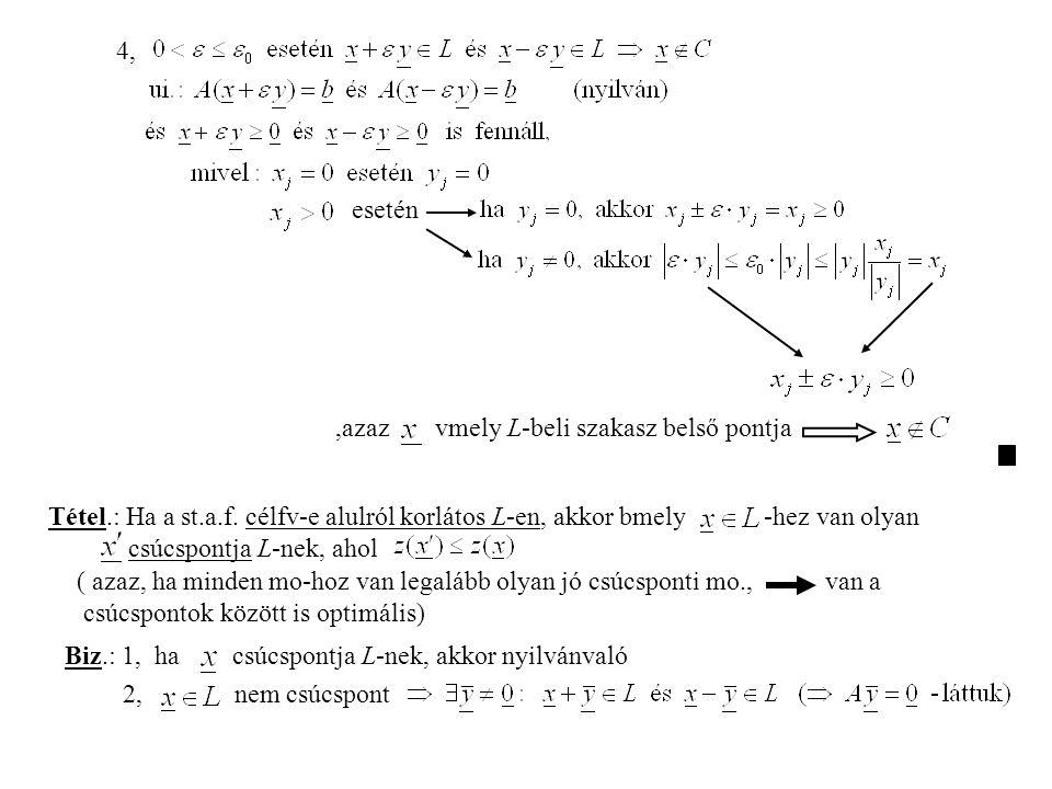 4, esetén,azaz vmely L-beli szakasz belső pontja Tétel.: Ha a st.a.f.