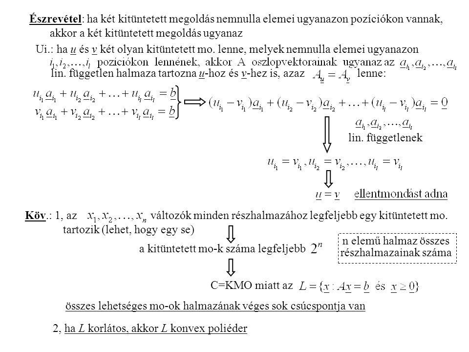 Észrevétel: ha két kitüntetett megoldás nemnulla elemei ugyanazon pozíciókon vannak, akkor a két kitüntetett megoldás ugyanaz Ui.: ha u és v két olyan kitüntetett mo.