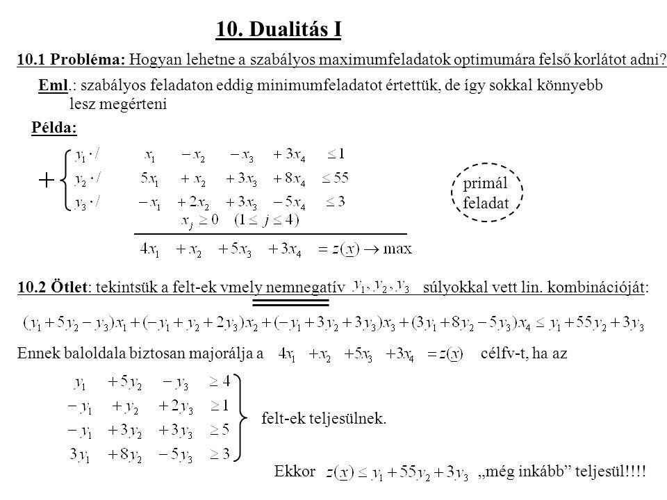 10. Dualitás I 10.1 Probléma: Hogyan lehetne a szabályos maximumfeladatok optimumára felső korlátot adni? Eml.: szabályos feladaton eddig minimumfelad
