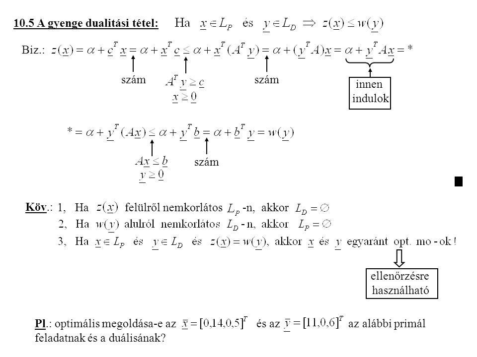 10.5 A gyenge dualitási tétel: Biz.: szám innen indulok szám Köv.: 1, Ha felülről nemkorlátos -n, akkor ellenőrzésre használható Pl.: optimális megoldása-e az és az az alábbi primál feladatnak és a duálisának?
