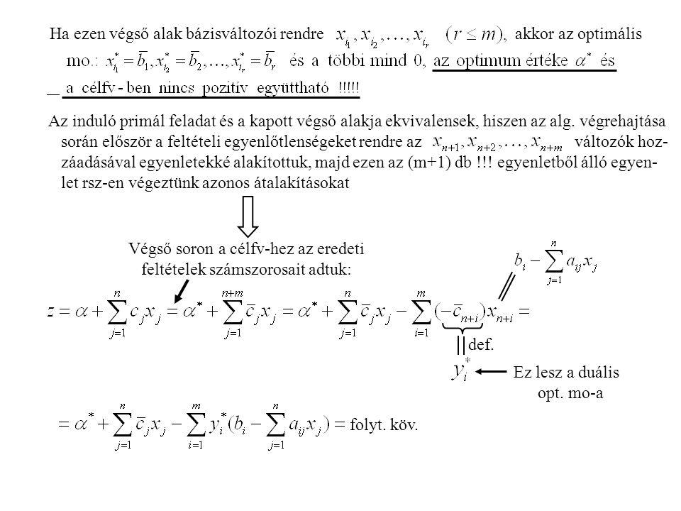 Ha ezen végső alak bázisváltozói rendre akkor az optimális Az induló primál feladat és a kapott végső alakja ekvivalensek, hiszen az alg.