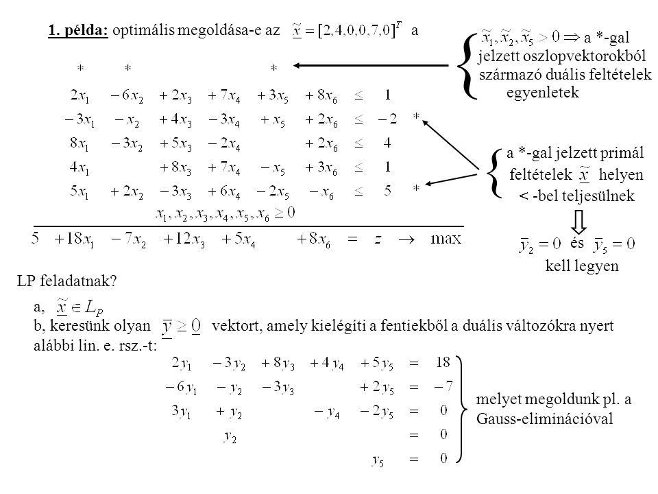 1. példa: optimális megoldása-e az a a *-gal jelzett oszlopvektorokból származó duális feltételek egyenletek { a *-gal jelzett primál feltételek helye