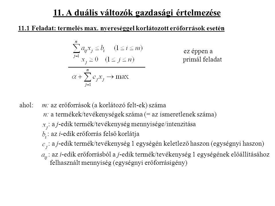 11.A duális változók gazdasági értelmezése 11.1 Feladat: termelés max.