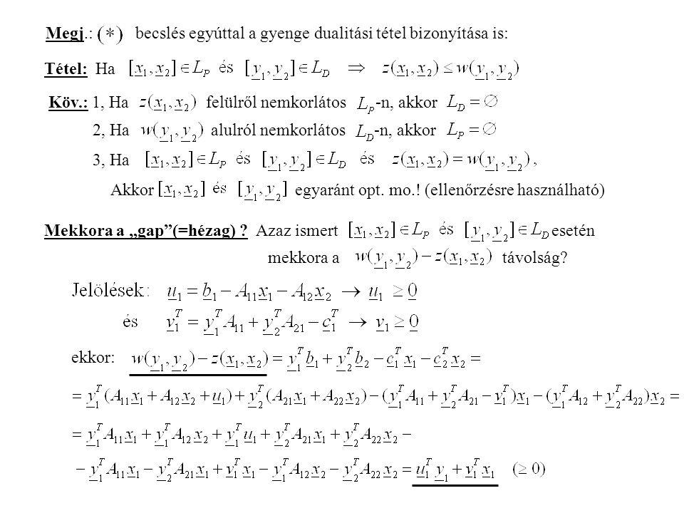 Megj.: becslés egyúttal a gyenge dualitási tétel bizonyítása is: Tétel: Ha Köv.: 1, Ha felülről nemkorlátos -n, akkor 2, Ha alulról nemkorlátos -n, akkor 3, Ha Akkor egyaránt opt.