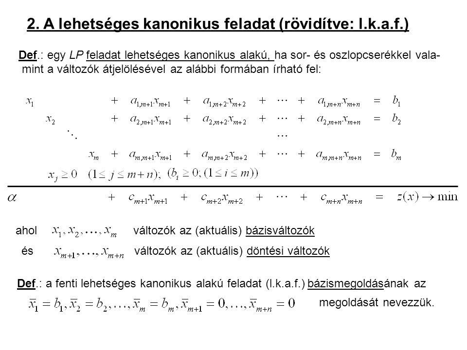 2. A lehetséges kanonikus feladat (rövidítve: l.k.a.f.) Def.: egy LP feladat lehetséges kanonikus alakú, ha sor- és oszlopcserékkel vala- mint a válto