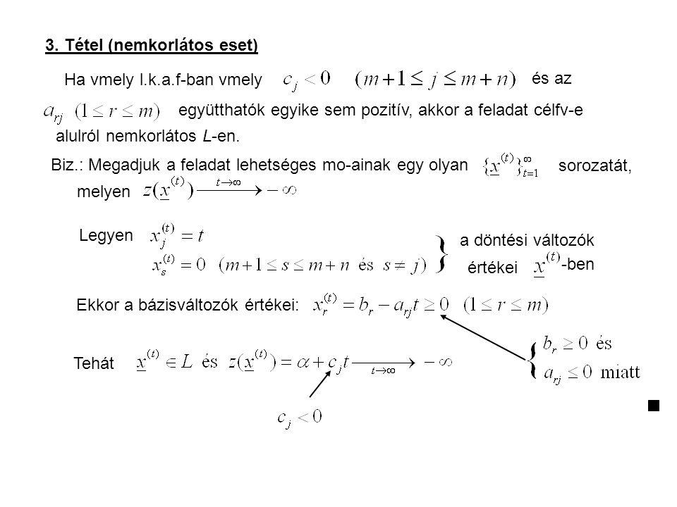 3. Tétel (nemkorlátos eset) Ha vmely l.k.a.f-ban vmely és az együtthatók egyike sem pozitív, akkor a feladat célfv-e alulról nemkorlátos L-en. Biz.: M